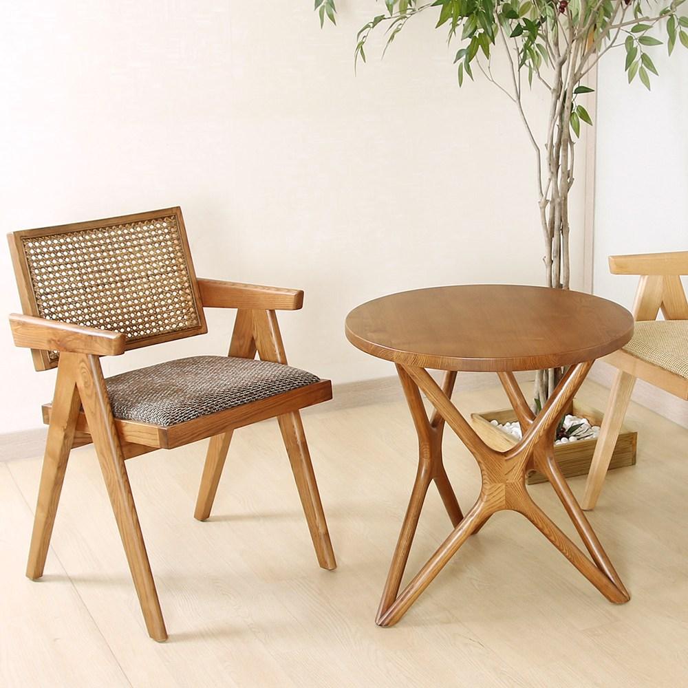 파스텔우드 고급 원목 카페탁자 커피숍 원형 인테리어 디자인탁자 거실 티테이블 협탁, 브라운 600Ø