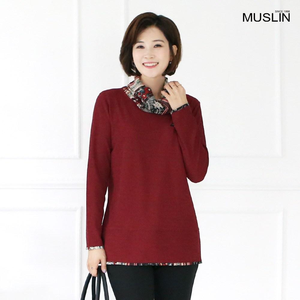엄마옷 모슬린 스카프 폴라 티셔츠 TP8100512