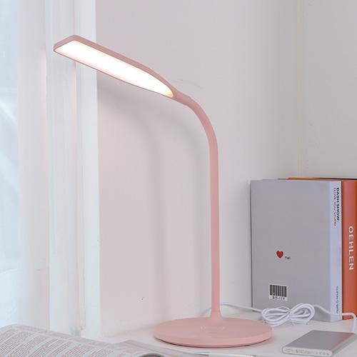 LED 데스크 학생스탠드 시력보호 혼합색상 휴대폰 무선충전기능, 핑크