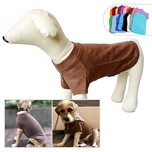 2018 애완 동물 의류 중형 중형견을위한 개 옷 비어있는 티셔츠 티셔츠 100 % 코튼 개 티즈 클래식 (XXXL 커피) 2018 Pet Clothing Dog Clothes, 1set