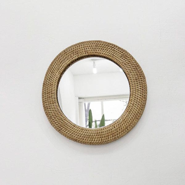 [포홈] 라탄 원형 거울 (중), 타입:단일선택