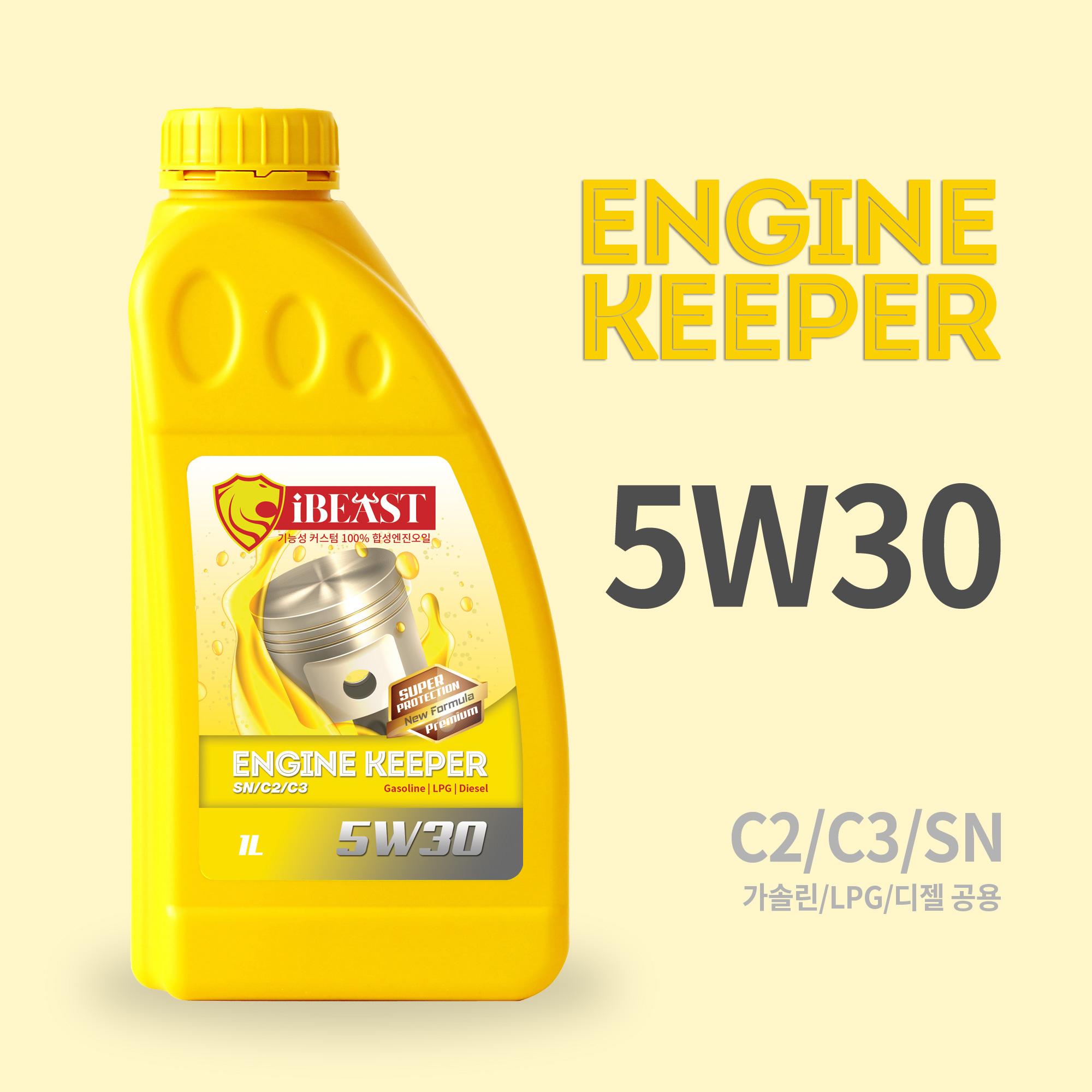 아이비스트 엔진키퍼 5W30 엔진오일합성유 겸용 엔진오일, 1개