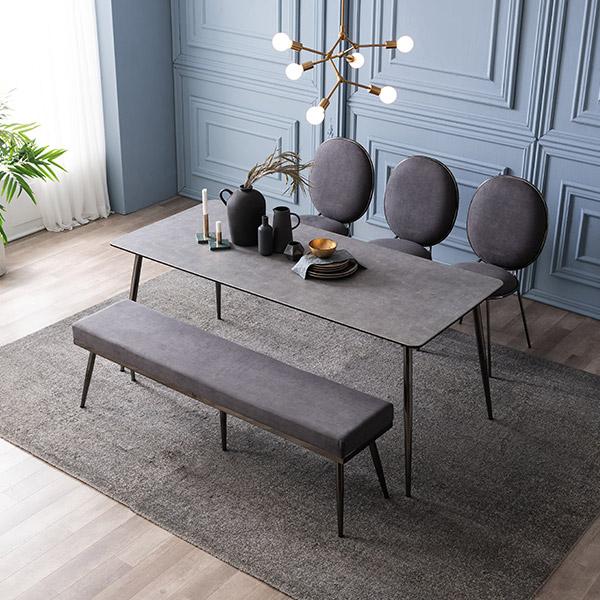 삼익가구 크리즈 세라믹 6인용 식탁 세트, 02.6인용 식탁세트(의자3+벤치1):그레이