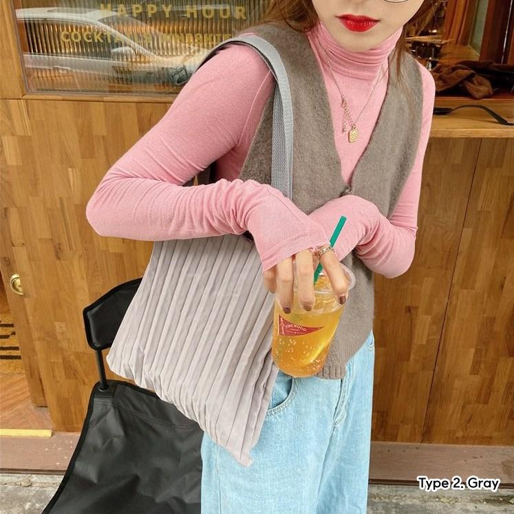 플리츠 주름 아코디언 플리츠 에코백 늘어나는 장바구니 가방