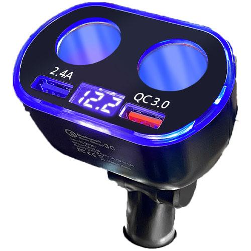 3s 전압표시 멀티 고속충전기 QC3.0 시거잭 4구 12 24V 겸용, b46 4in1 시거잭 (POP 5079008525)