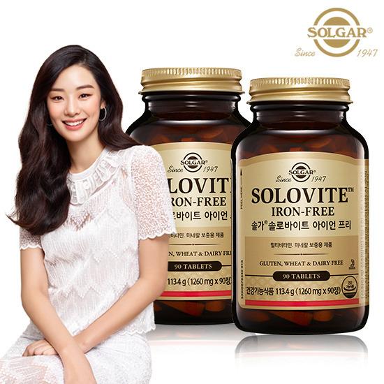 [솔가] 솔로바이트 아이언프리 종합비타민 90정x2병 (6개월), 단품