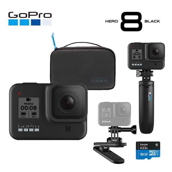 [GoPro] 고프로 HERO 8 Black 히어로 8 블랙 트레블 번들팩 (자석식 회전 클립 + 쇼티 + 컴팩트 케이스 + 32GB메모리), 단품