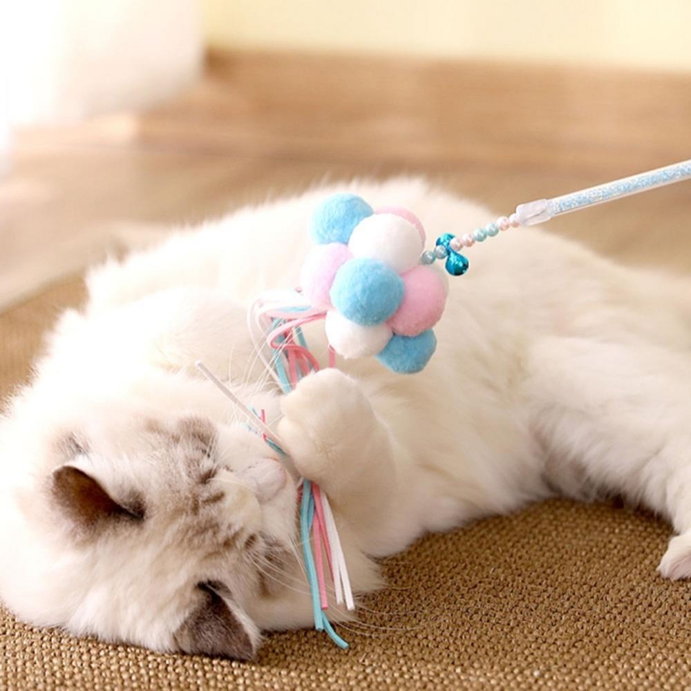 놀이용 운동용 고양이 폼폼낚시대 깃털 놀이용장난감, 메론소다