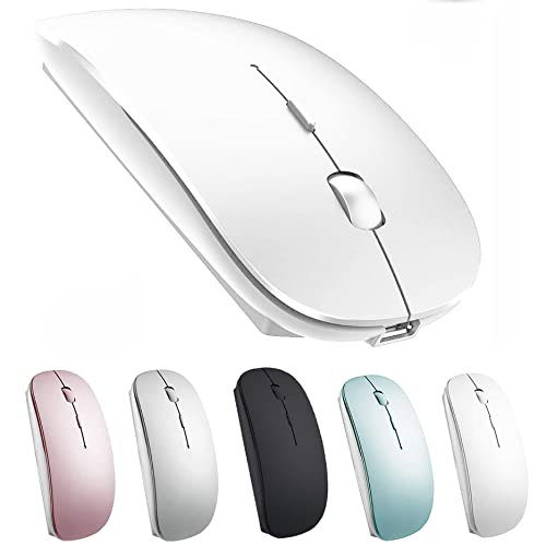 Rechargeable Wireless Mouse for Laptop MacBook Pro MacBook Air Laptop Windows IMAC Wallpape (white), white