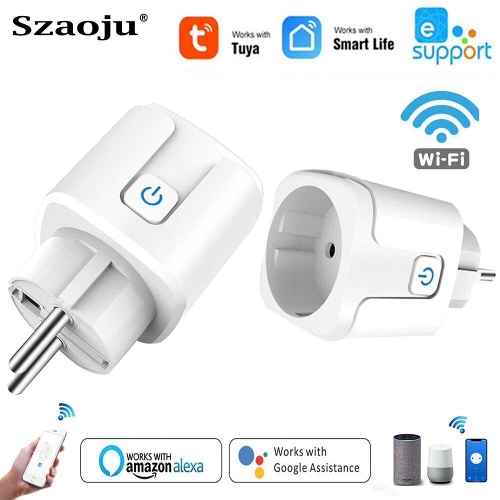 WiFi 스마트 플러그 16A EU 소켓 전원 모니터 콘센트 타이밍 기능 Tuya Smart Life APP Control for Alexa Google Home Assistant 전기, 01 1 pcs Smart Plug (POP 5607268412)