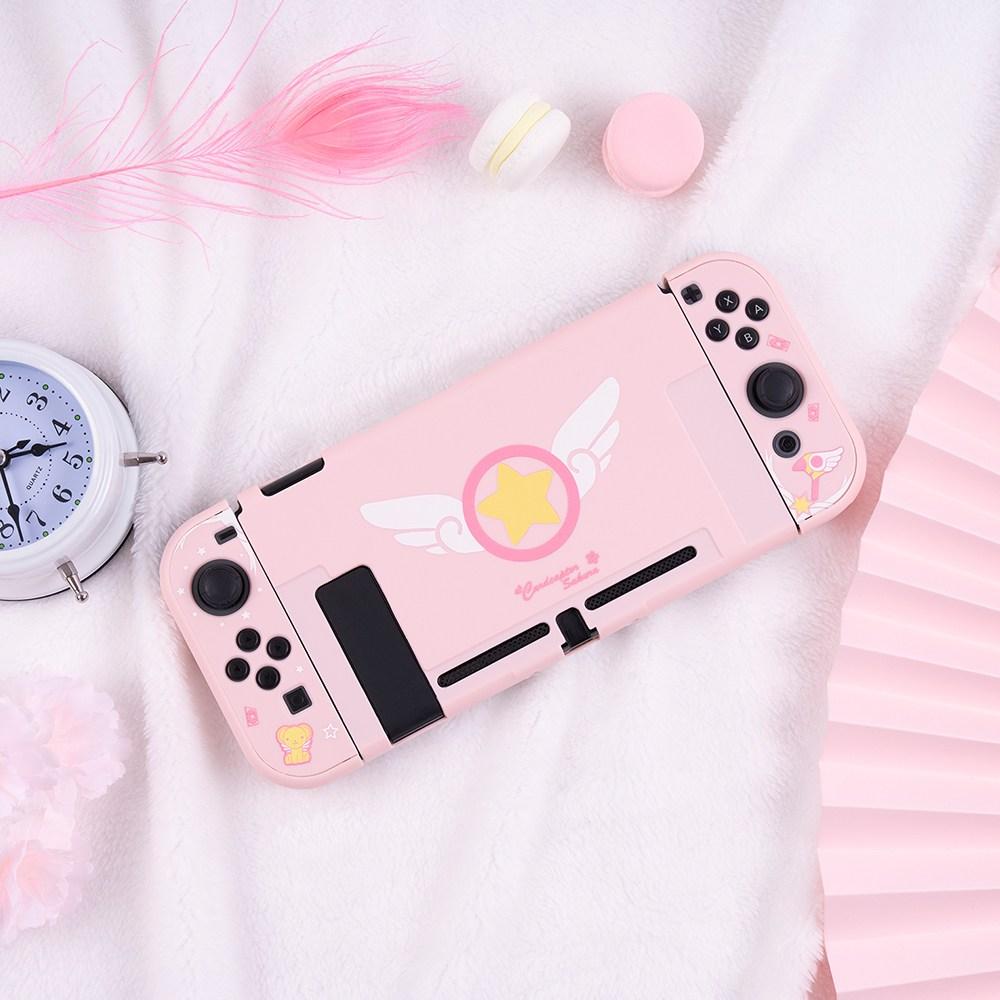 닌텐도 스위치 카드캡터 체리 사쿠라 핑크 커버 에디션, 1개, 스위치 커버