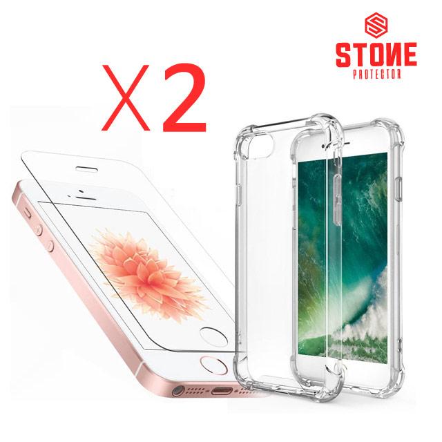 스톤스틸 아이폰se 아이폰5s 강화유리필름 2장 + 범퍼케이스 2개, 1세트
