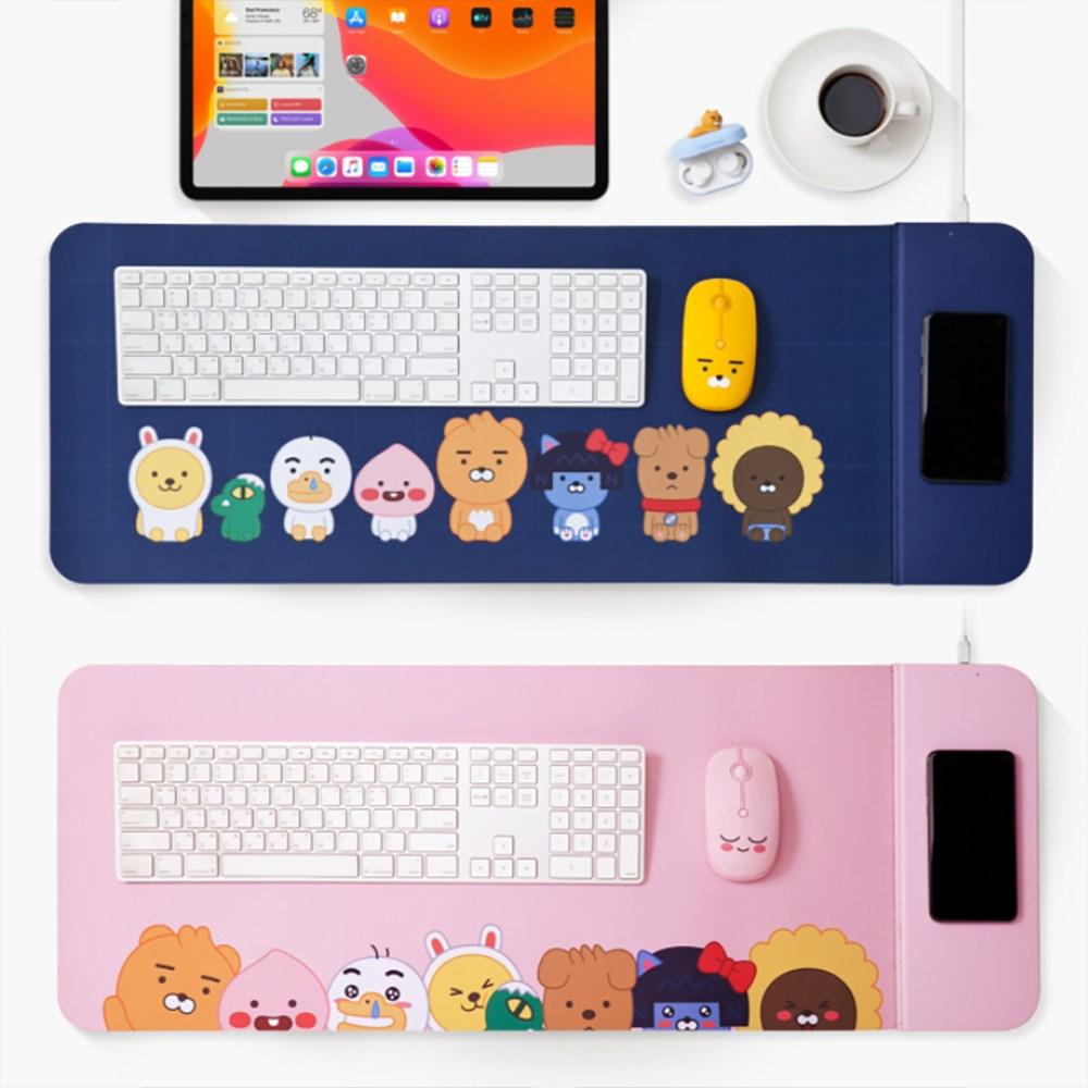 카카오프렌즈 리틀 무선충전 데스크매트 책상 패드 / 컴퓨터 키보드 마우스 휴대폰 캐릭터