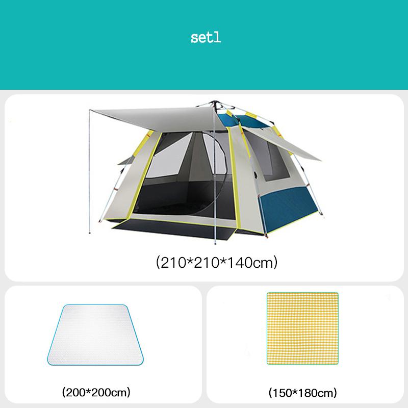 [유쉬터] 자동텐트 원터치텐트3-4인용자외선 차단 낚시용 공원용 방수텐트 세트, SET1