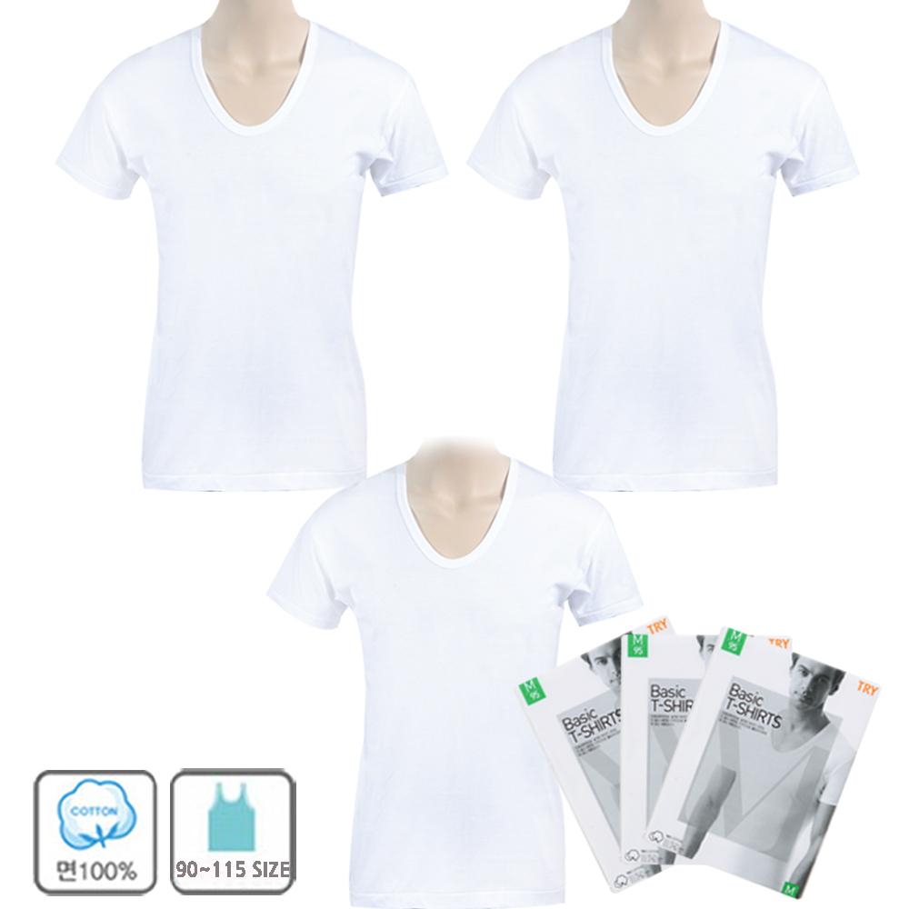 트라이 남성용 베이직 T셔츠 반팔 런닝 3P
