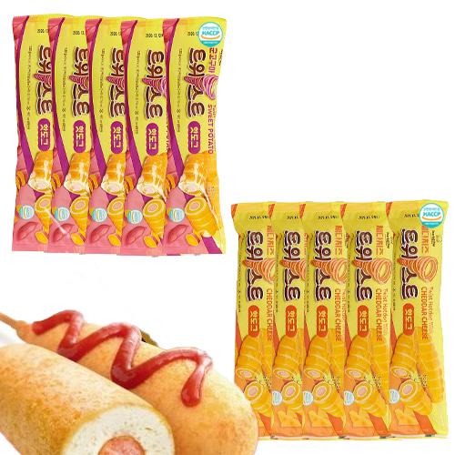 [핫도그의 특별한맛] 회오리 군고구마 핫도그 130gx5개+체다치즈 핫도그 130gx5개, 단품
