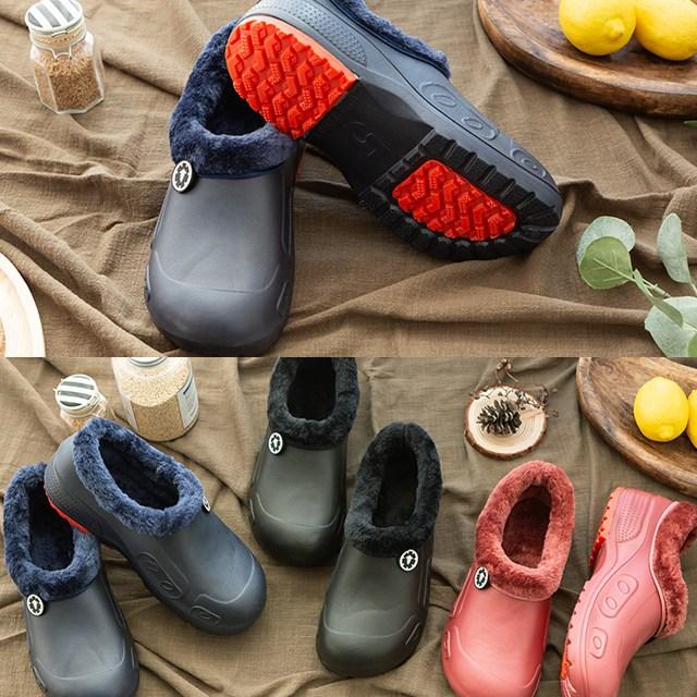 시장 물청소 겨울 방한 방수 털 신발 슬리퍼 주방화
