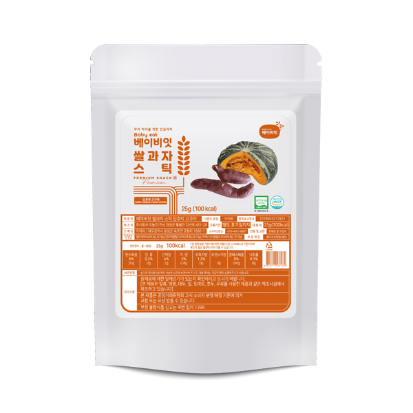 베이비잇 유기농 쌀과자 스틱 단호박고구마 x 6개, 베이비잇 스틱 단호박고구마 x 6개