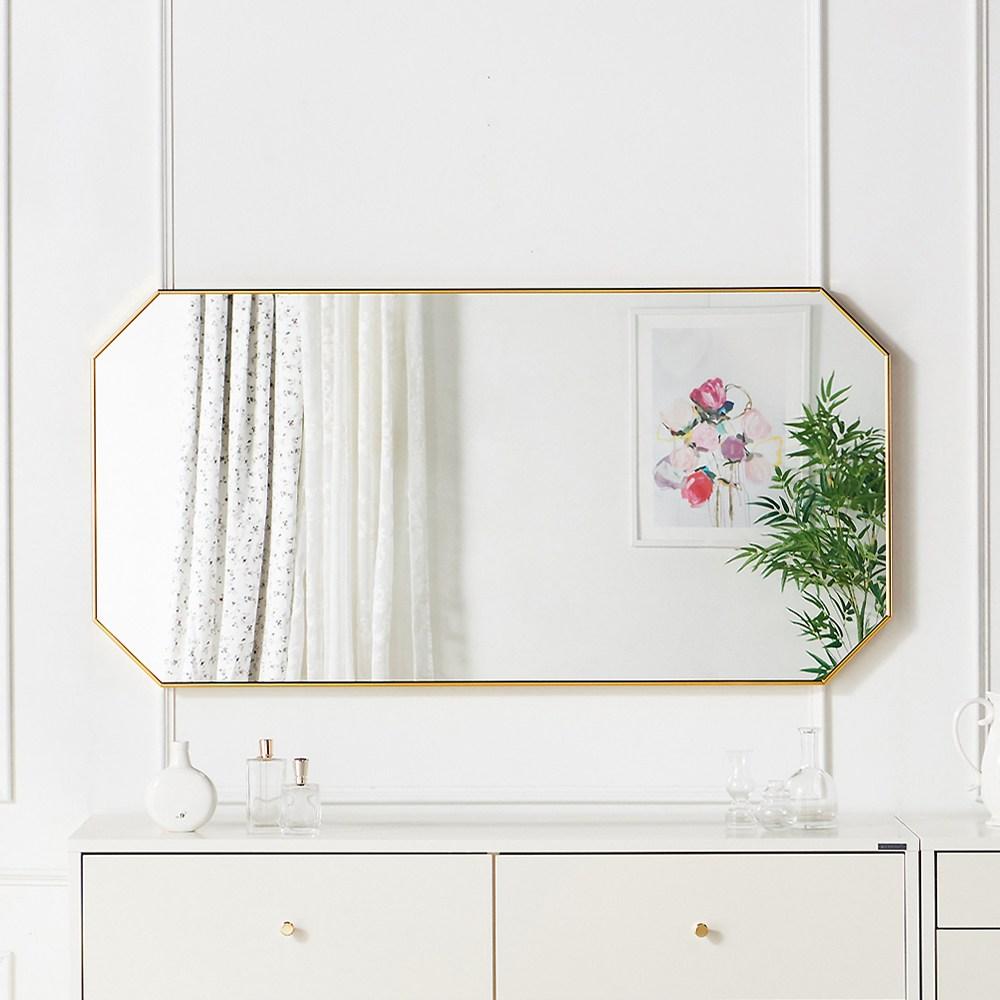 소르니아 베티 팔각거울 600X1200큰거울화장대거울, 골드
