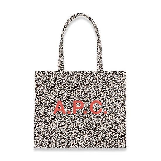 APC 아페쎄 COERL M61443 AAB WHITE 레오파드 호피 다이엔 에코백 화이트
