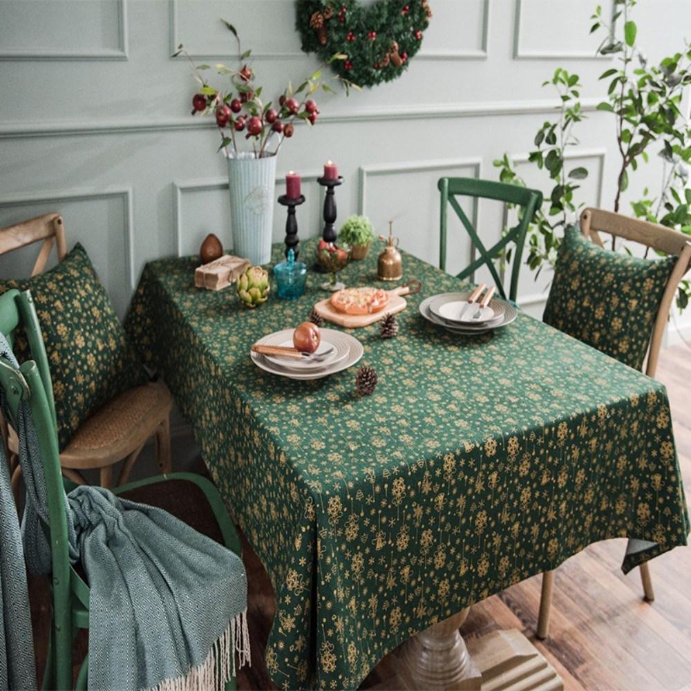 테이블보 크리스마스 식탁보 크리스마 테이블 꾸미기, 140*200cm, 그린 방울