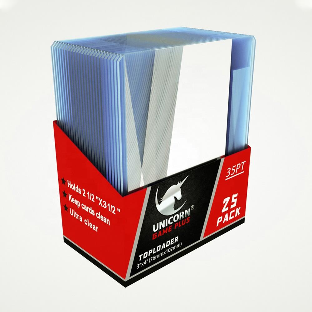 유니콘 탑로더 3x4 투명 플라스틱 하드케이스 25개팩 7.6 x 10.1cm 35pt 유희왕카드 포켓몬카드 보관