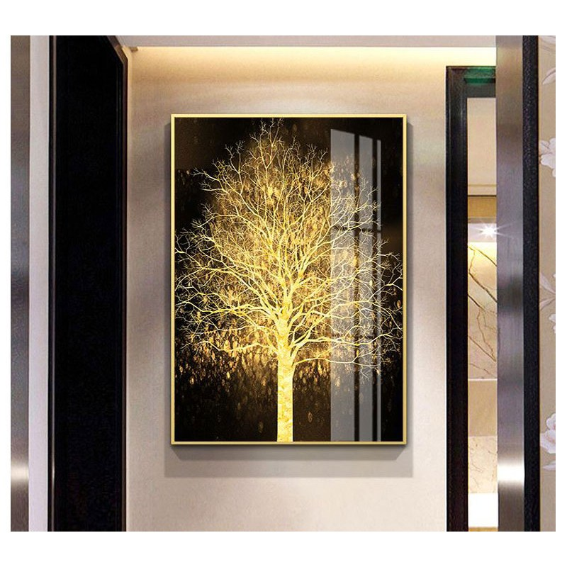 완판상회 풍수지리 황금 돈나무 고급 대형 거실 인테리어 액자 골드, A