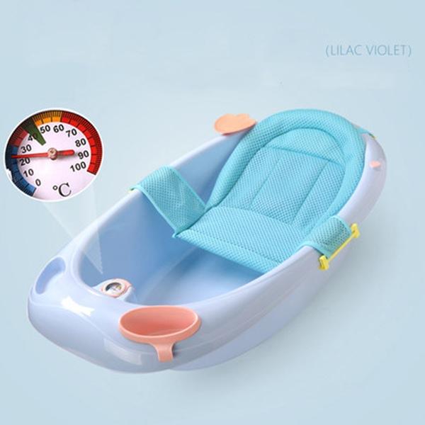 뽀뽀아가 어린이 욕조 신생아 유아 목욕통 온도계 ET0064 유아욕조, 블루+망사시트