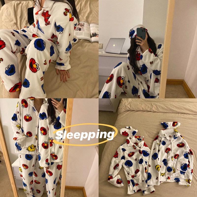 봄날의꽃 겨울 극세사 엘모 쿠키몬스터 커플수면잠옷+안대세트