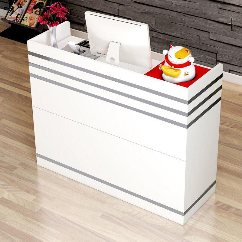 카운터 테이블 인포메이션 업소용 카운터 안내데스크, 따뜻한 화이트 + 60x35x90cm