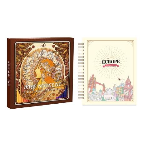 마이 로맨틱 유럽 스티커 컬러링북+아르누보 50색 색연필 세트, 아르누보