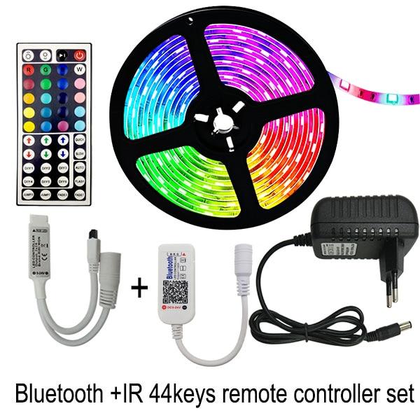 5 메터 10 메터 15 메터 LED 스트립 RGB 5050 SMD 유연한 리본 fita led 라이트 스트립 RGB 테이프 다이오, 01 Non waterproof_01 5M Full Set, 01 Bluetooth andIR44key