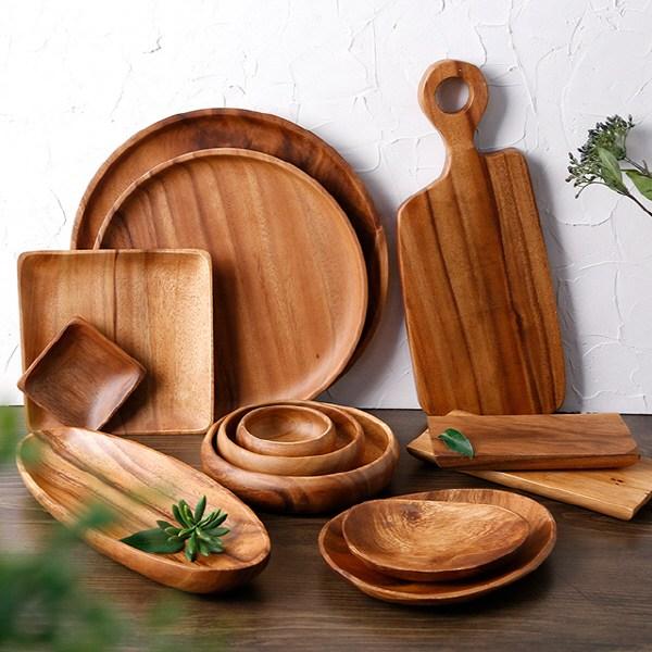 성일산업 아카시아 원목 나무 접시 우드 플레이트 그릇, 아카시아 사각라운딩도마 2호(L)