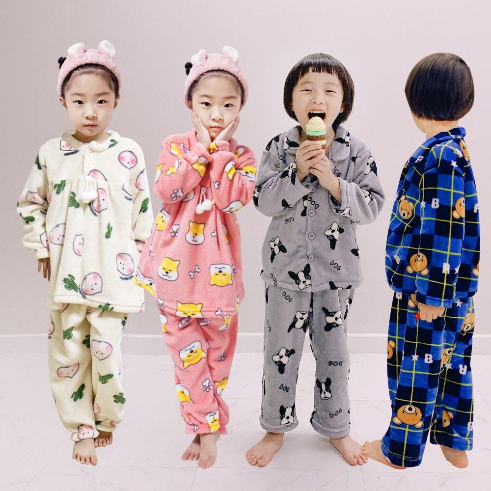 키즈 밍크 극세사 수면잠옷 유아 어린이 파자마세트