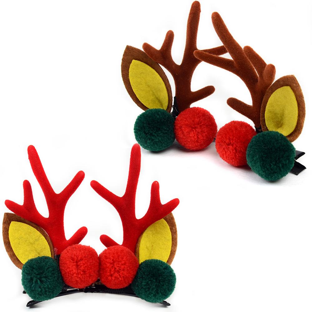 루돌프장식머리핀(2P) 크리스마스 머리핀 헤어장식