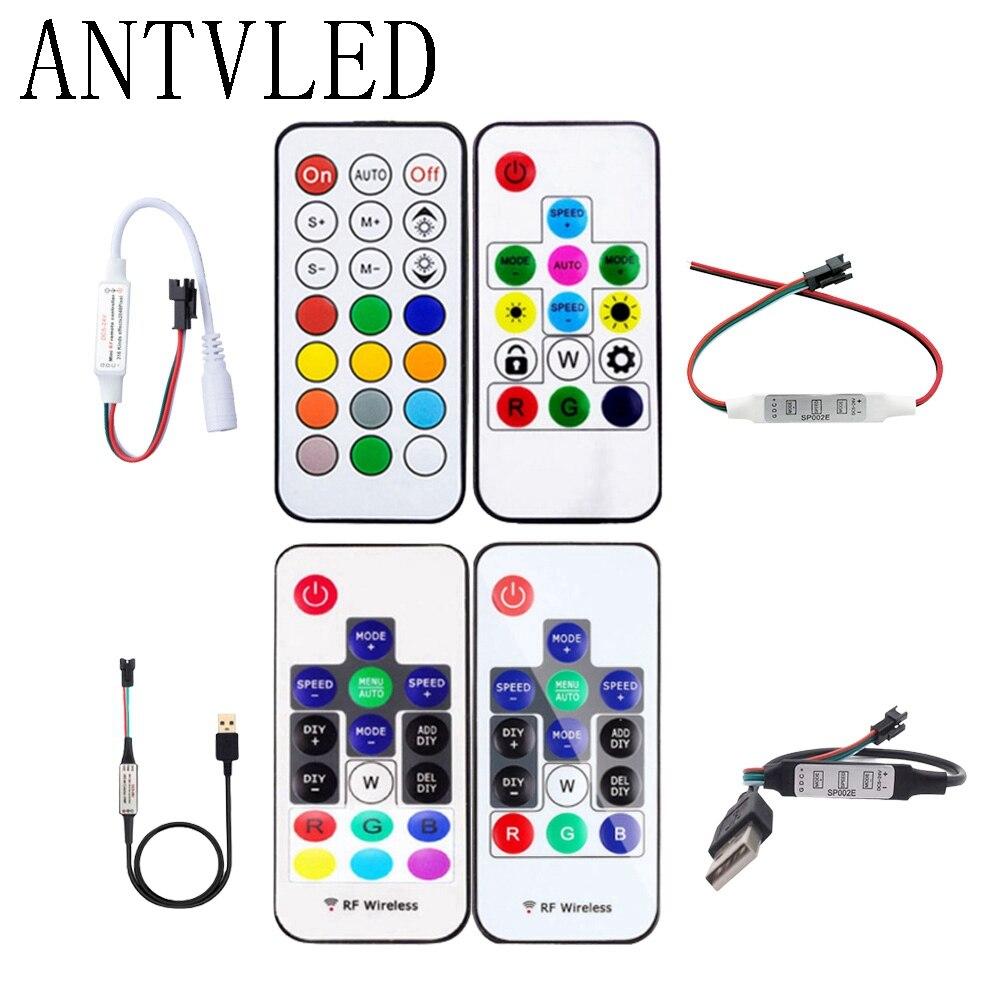 WS2811 WS2812B SK6812 Led 픽셀 컨트롤러 RF 14/17/21 키 원격 DC/USB 미니 3 키 제어 DC5 24V|RGB Controlers|, 1개, 21-Key USB, 단일