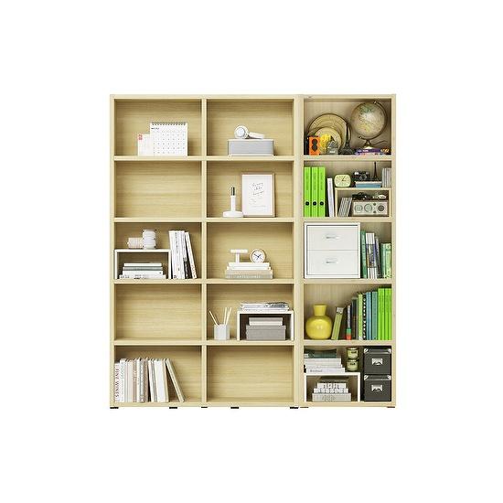 한샘 샘 와이드 책장 5단 120cm+샘책장65cm 시공 set (컬러 택1), 책장(컬러):메이플(C)