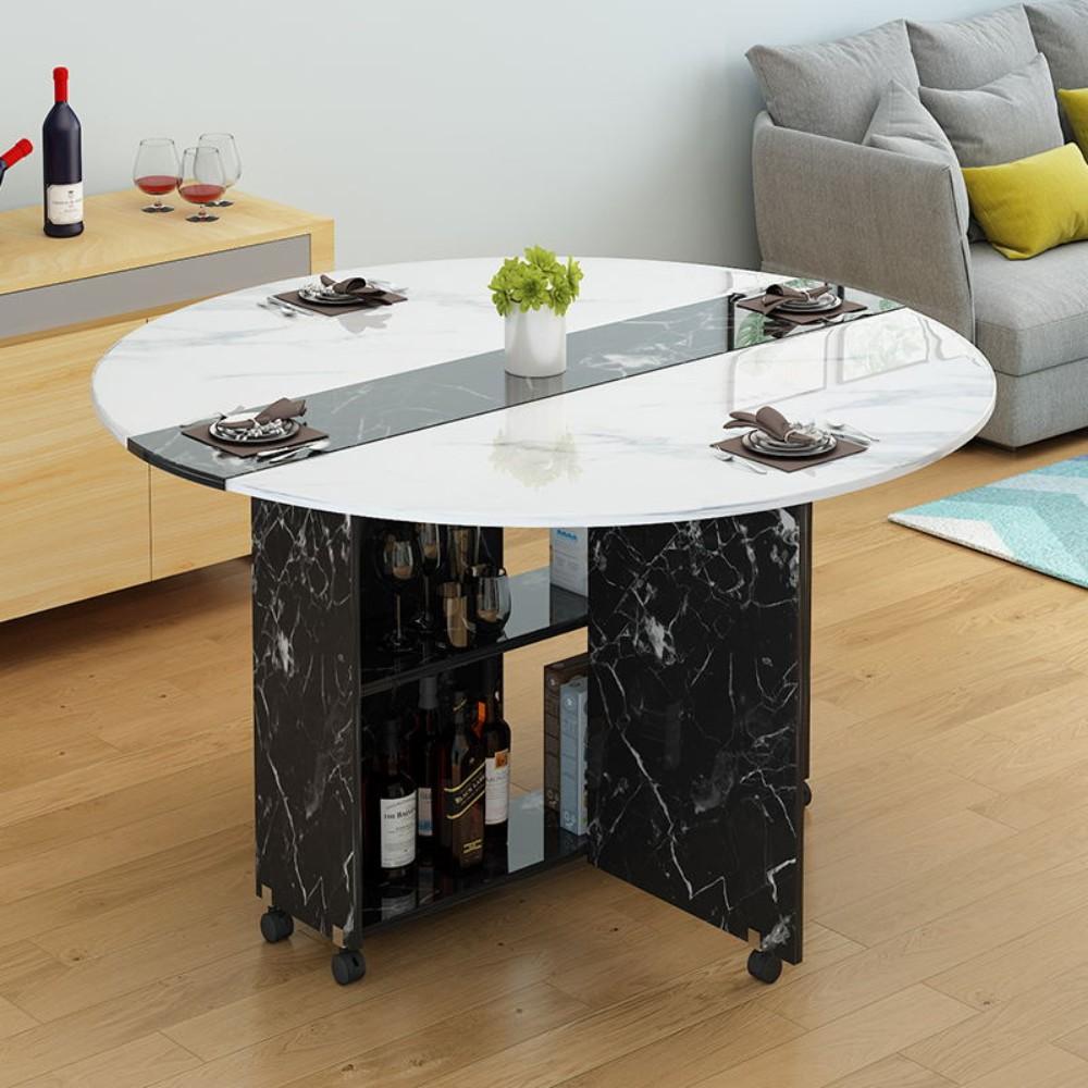 북유럽 레트로 접이식 이동식 확장형 폭좁은 반달 식탁 테이블, G