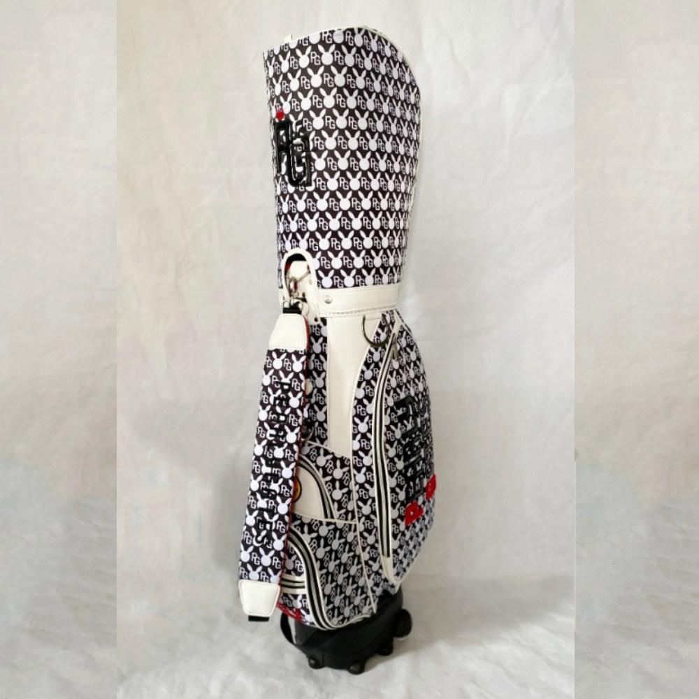 플레이게이츠 PEARLY GATES 여성 올오버 프린팅 캐디백 골프 골프백 PU 방수 표준 경량, 블루