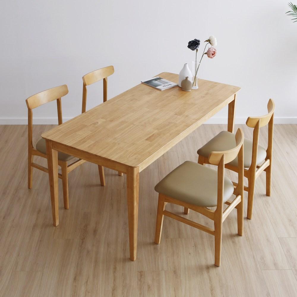 라미에스 디첸 고무나무 원목 6인식탁세트, 05_디첸6인식탁1+의자4