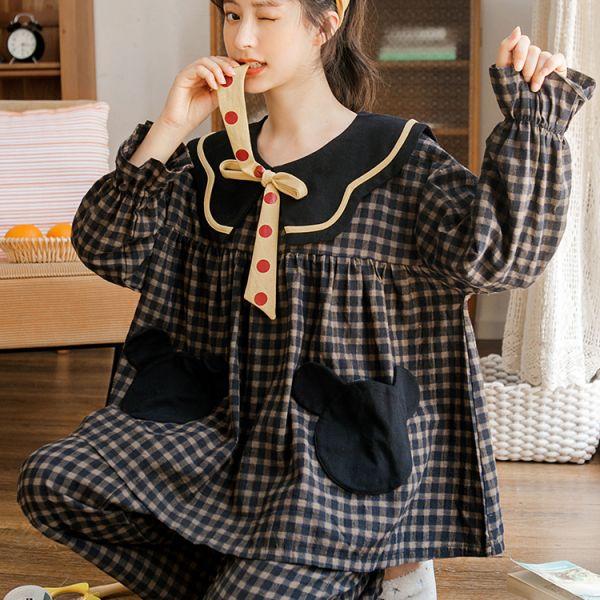체크 루즈핏 리본 곰 우정 가족 청소년 자주 잠옷 파자마 시어서커 비타산