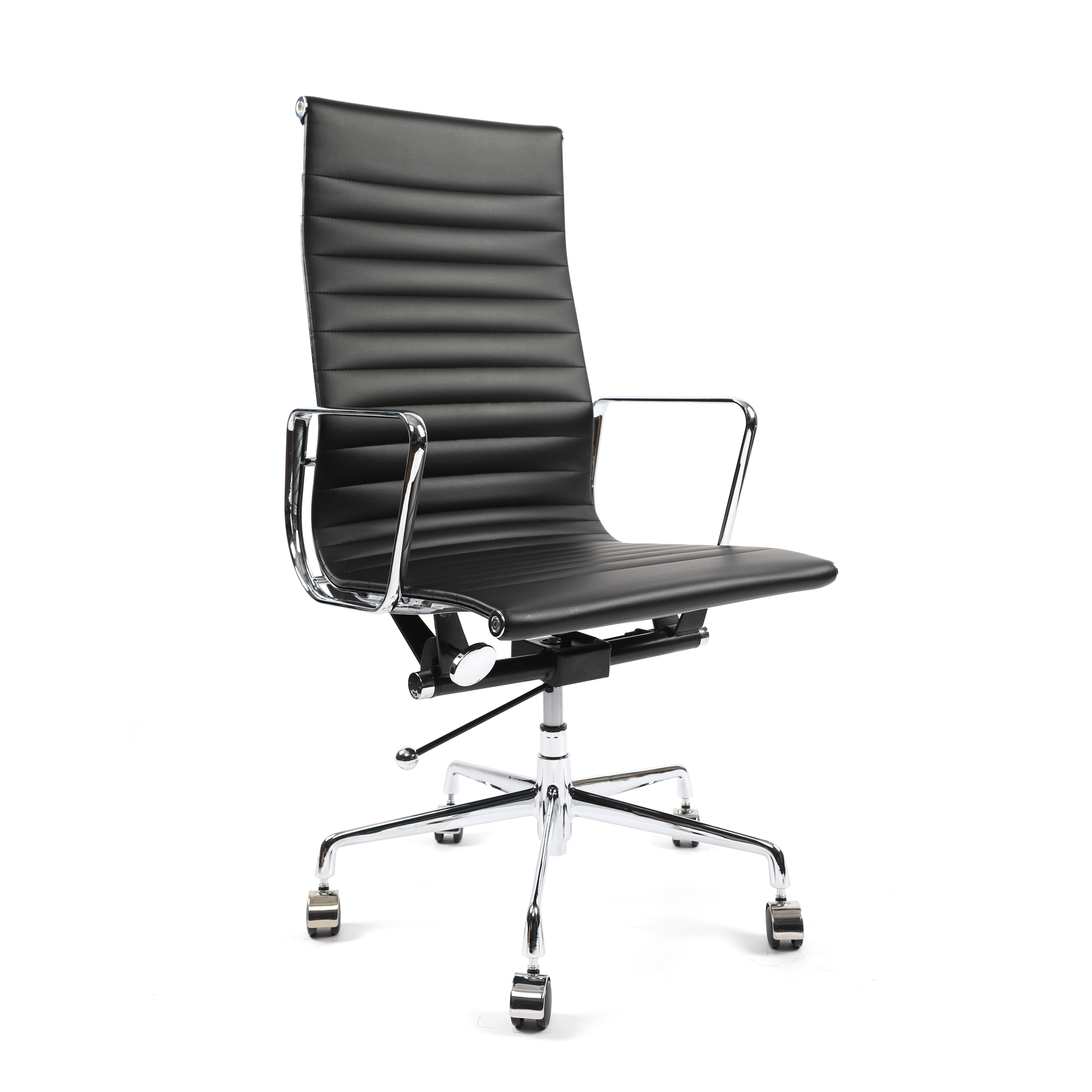 휘게체어 허먼밀러 임스체어 디자이너 명품 오피스 가죽 인테리어 오피스 체어 의자, 인조가죽(PU) - 블랙