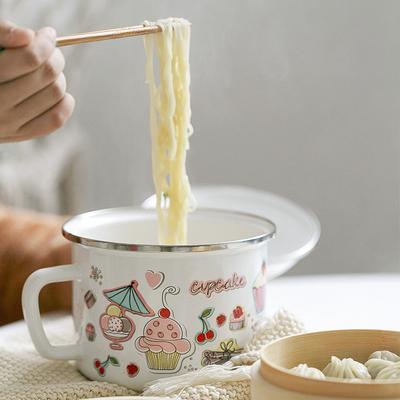 컵케잌 16cm 뚜껑 북유럽 에나멜 법랑컵, 기본