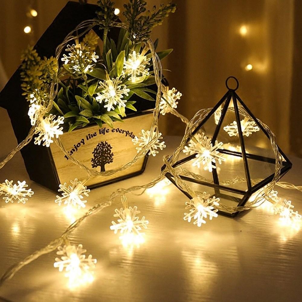 21세기트랜드 LED줄조명 인테리어조명 크리스마스전구 장식 줄조명, 4.눈꽃 전구:5m50구-황색