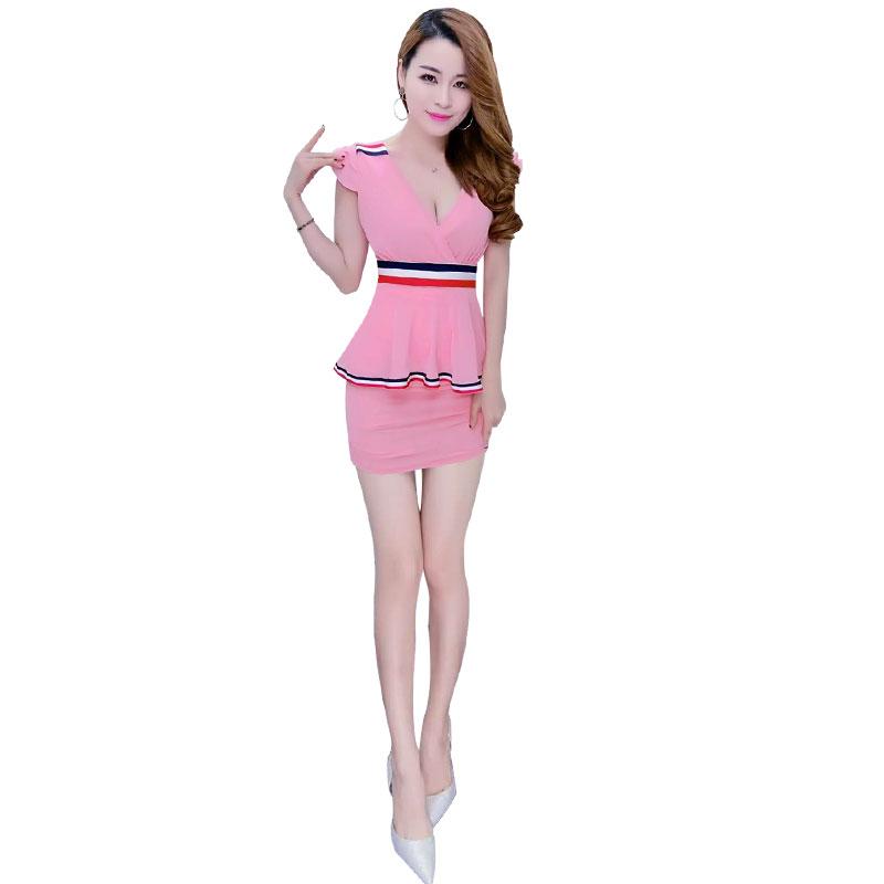 족욕 마사지사복 유니폼 슬림 배가리기 섹시 원피스다 슬림핏 사우나 마사지 스파 카고, XL 핑크 타입