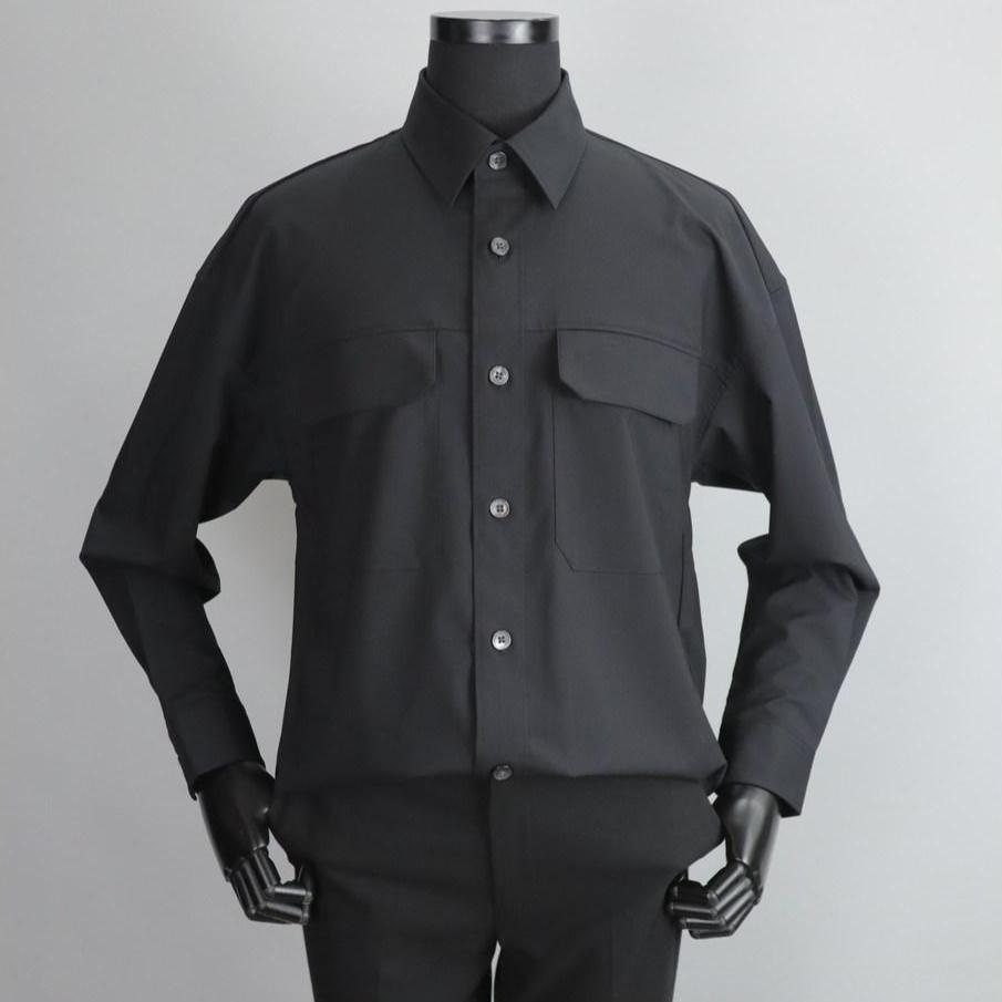 지오송지오 ZVW31727 블랙 구김제로 투포켓 포인트 오버 셔츠