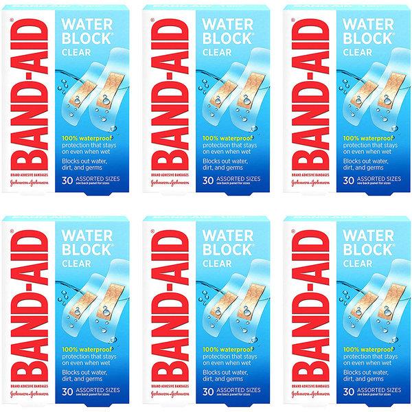 밴드에이드 워터 블록 클리어 방수 상처밴드 30입 6팩 (POP 4846141734)