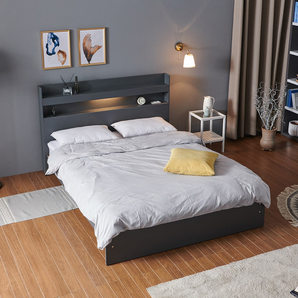 크렌시아 아너스 LED 일반형 슈퍼싱글 침대 SS+본넬 매트리스+방수커버, 그레이