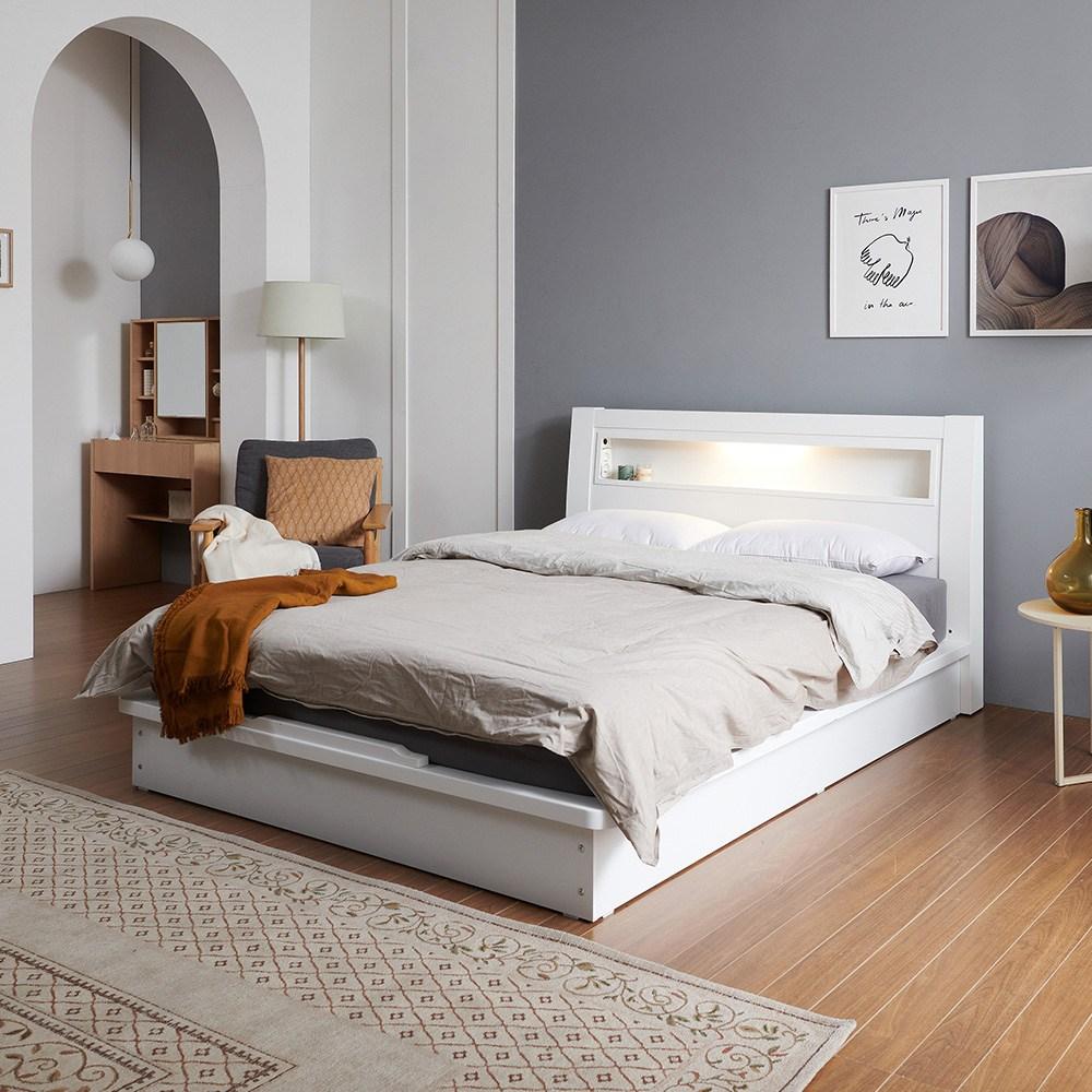 크렌시아 라이 LED 평상형 침대프레임 (매트제외), 화이트, 슈퍼싱글(매트제외)