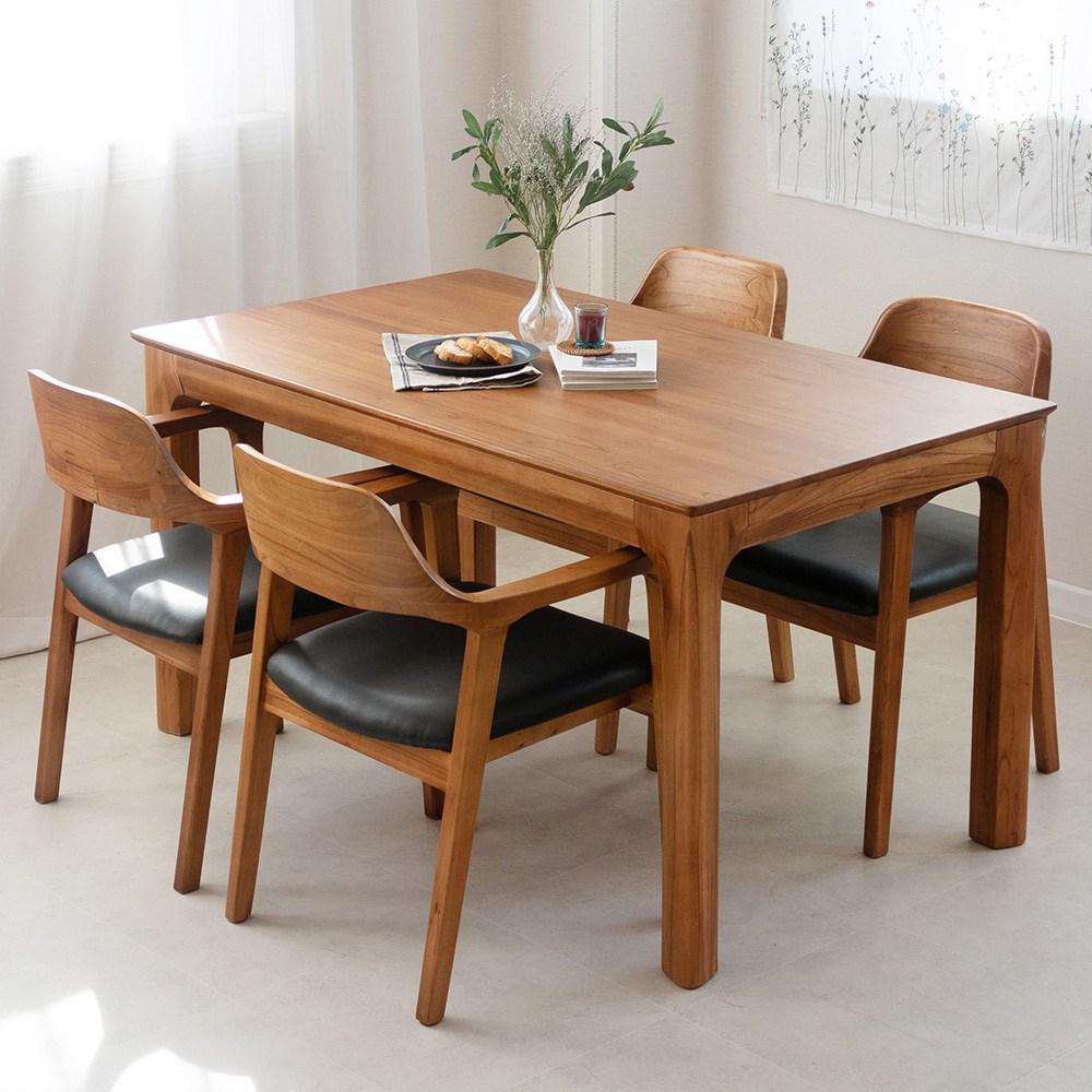 라로퍼니처 발렌시 4인 원목 식탁 세트 참죽나무 4인용 테이블 식탁세트, 의자형(테이블+의자4)